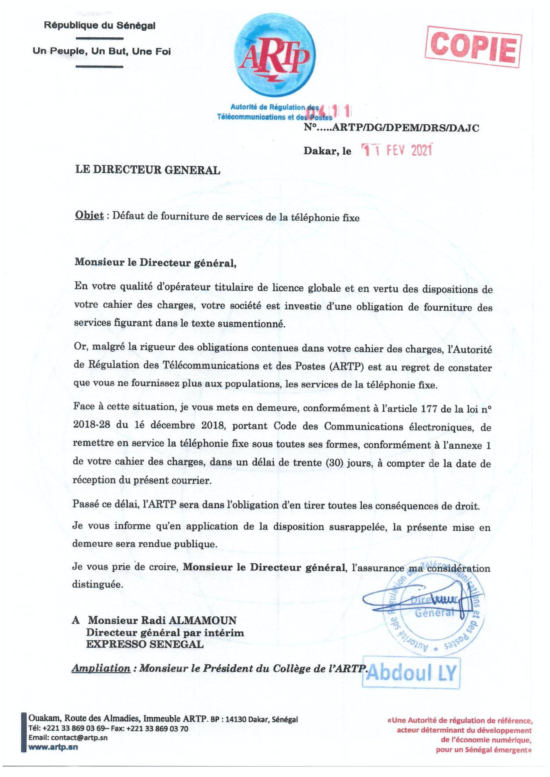 La mise en demeure de l'Artp adressée à Expresso Sénégal