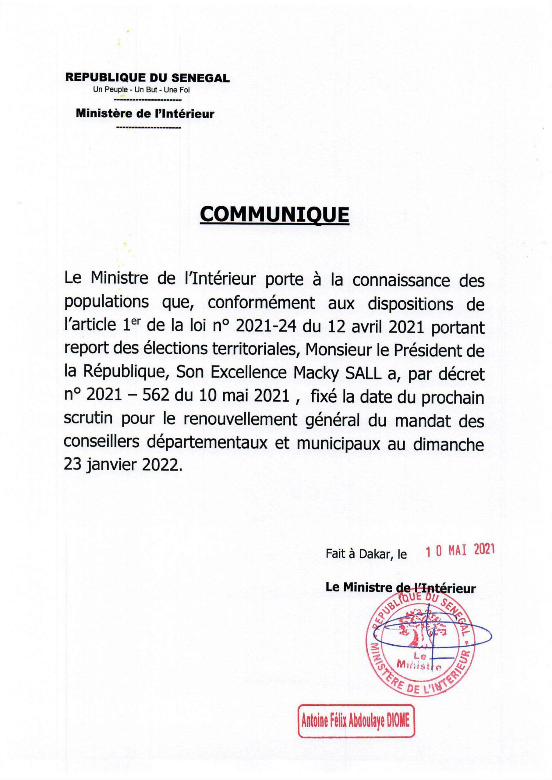 Macky Sall fixe les Locales pour le 23 janvier 2022